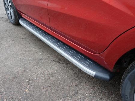 Lada XRAY(x-ray) 2016-Пороги алюминиевые с пластиковой накладкой (карбон серые) 1720 мм